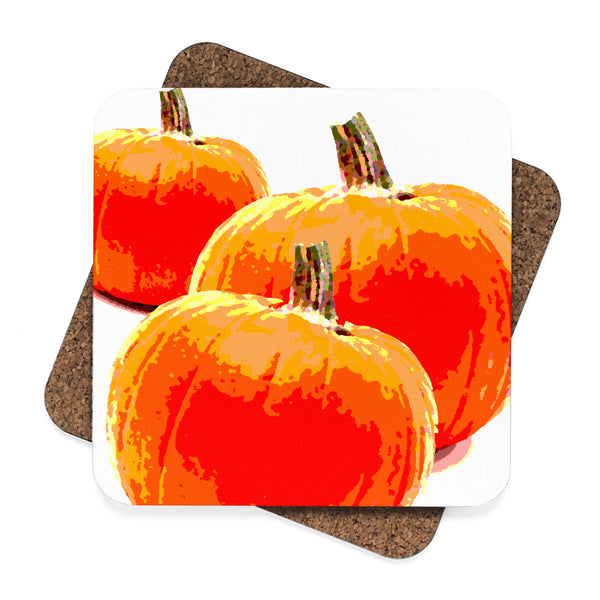 """ Pumpkin"" Square Hardboard Coaster Set - 4pcs"