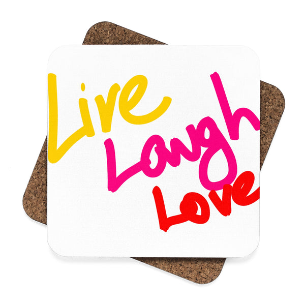 """ Live, Laugh, Love"" Square Hardboard Coaster Set - 4pcs"