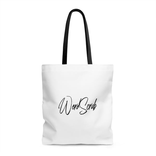 "White ""WordScrub"" Tote Bag"