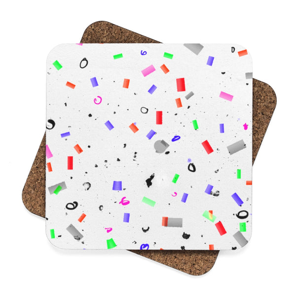 """ Confetti"" White Square Hardboard Coaster Set - 4pcs"
