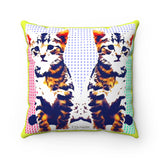 """ Twins"" Faux Suede Square Pillow"
