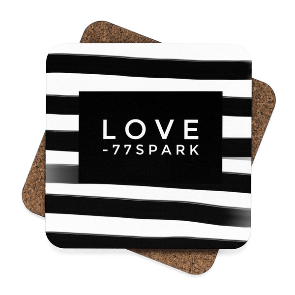 """ Love"" Striped Square Hardboard Coaster Set - 4pcs"