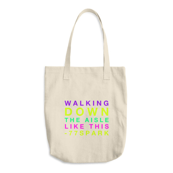 """ Walking down the aisle like this"" multi color Cotton Tote Bag"