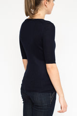 LA Rose Crewneck ribs cashmere blue