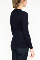 LA Rose cardigan ribs cashmere blue