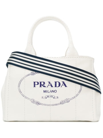 PRADA White logo Medium canvas tote bag