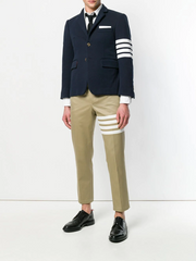 THOM BROWNE Seamed 4-Bar Stripe Unconstructed Chino Trouser In Cotton Twill