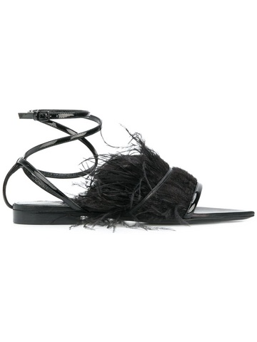 SAINT LAURENT feather trim ankle strap sandals