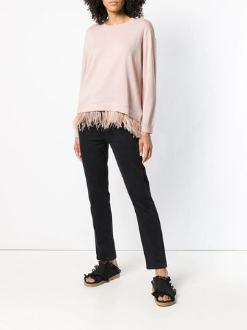 PAROSH feather trim jumper