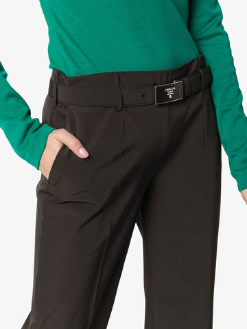 PRADA logo belt tech jersey cropped trousers