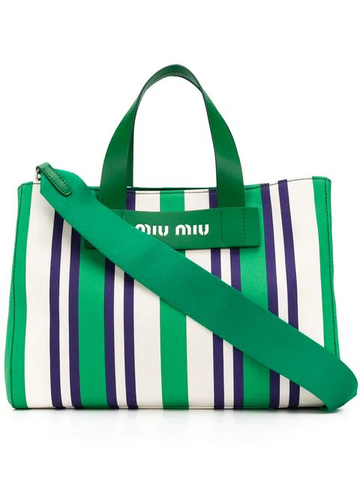 f692d297174 MIU MIU striped logo tote bag ...