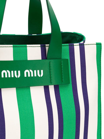 MIU MIU striped logo tote bag