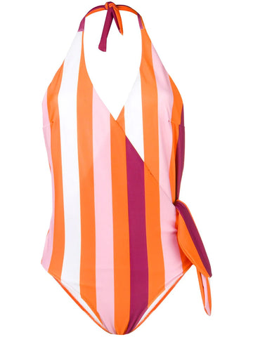 MSGM Striped halter neck swimsuit