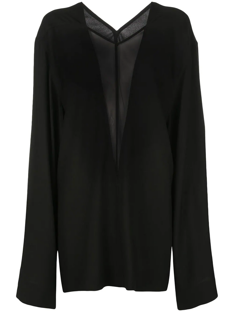 RICH OWENS oversized sheer panel blouse