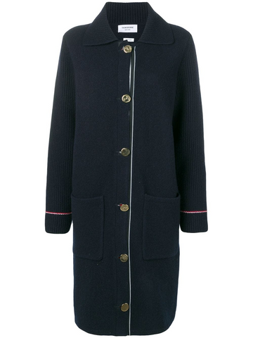 THOM BROWNE Duffle Coat In Overwashed Cashmere Blend With RWB TIpping StripeMade in Italy