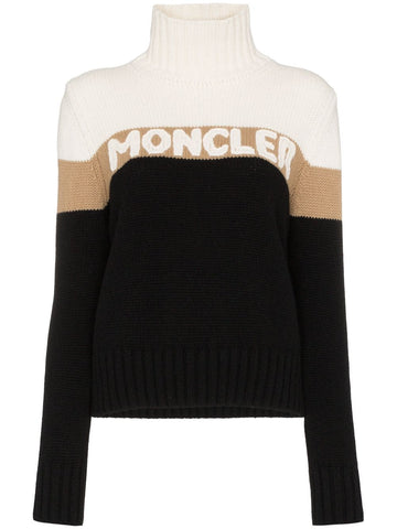 MONCLER roll-neck logo intarsia sweater