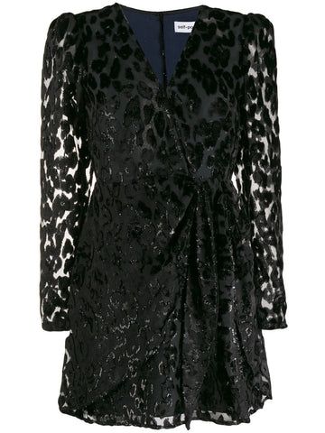 SELF PORTRAIT leopard print embellished dress