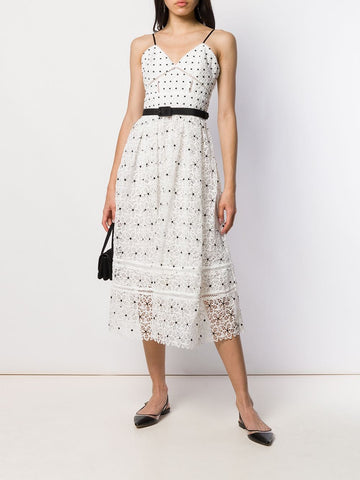 SELF PORTRAIT polka-dot midi dress