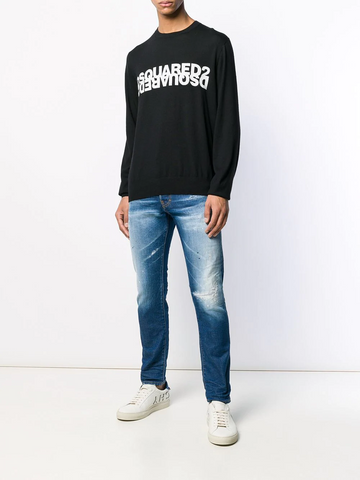 DSQUARED long sleeved double logo T-shirt