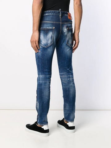 DSQUARED paint splatter stonewashed jeans