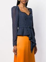 SELF PORTRAIT polka dot peplum blouse
