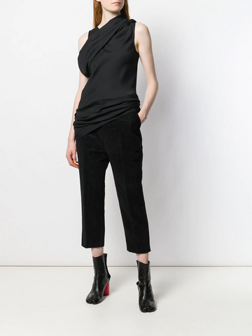 RICK OWENS pintuck cropped trousers