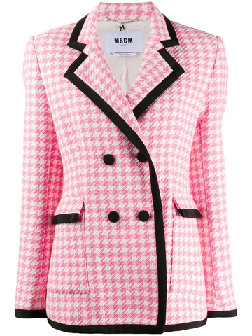 MSGM double-breasted houndstooth fitted jacket