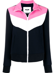 MSGM panelled zip-up jacket