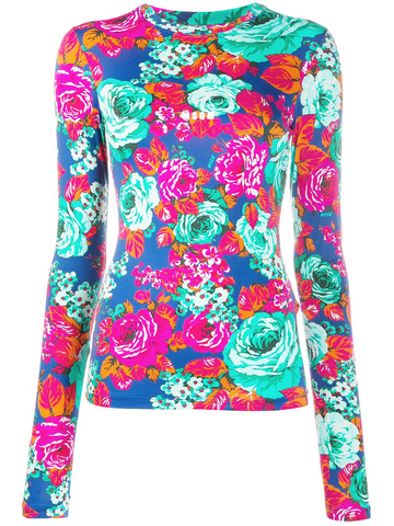 MSGM rose-print long-sleeved top