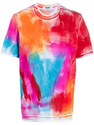 MSGM paint-effect cotton T-shirt
