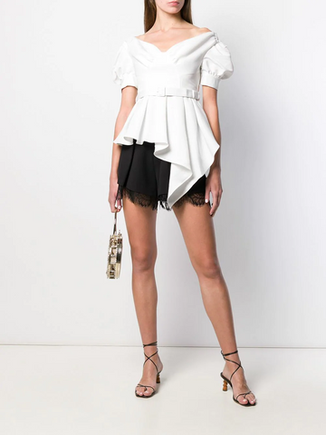 SELF-PORTRAIT asymmetric belted top