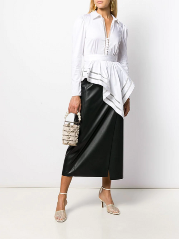 SELF-PORTRAIT asymmetric drape shirt