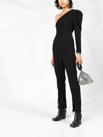 SELF-PORTRAIT One-shoulder crepe jumpsuit