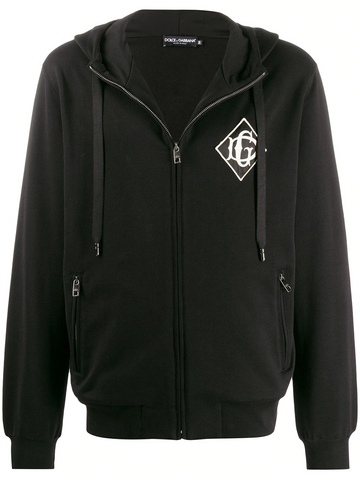 DOLCE & GABBANA embroidered logo zip-up hoodie
