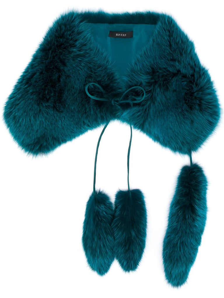 GUCCI blue fur scarf