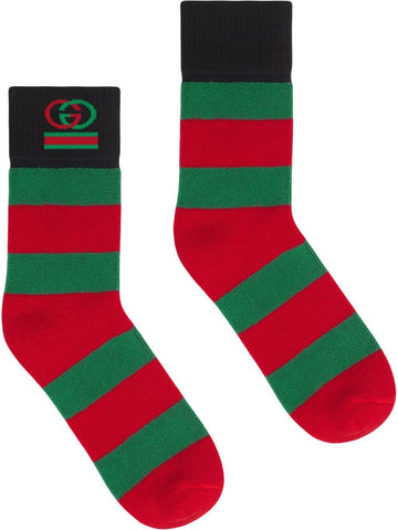 GUCCI striped logo detail socks