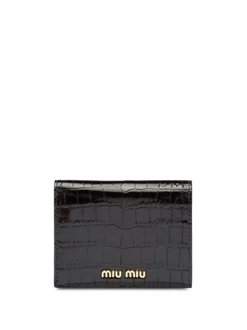MIU MIU crocodile-embossed bi-fold wallet