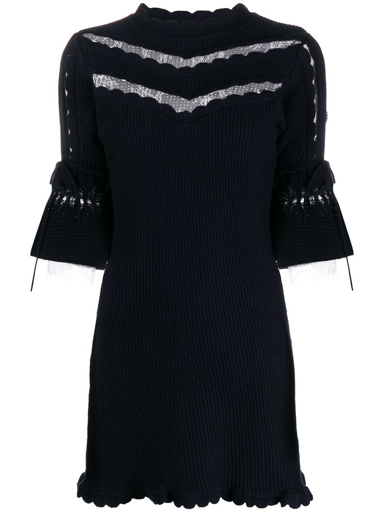 SELF-PORTRAIT Navy knitted mini dress