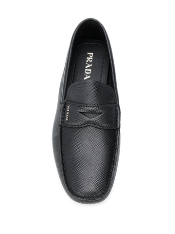 PRADA logo plaque loafers