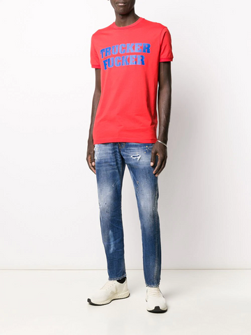 DSQUARED stained-effect straight jeans