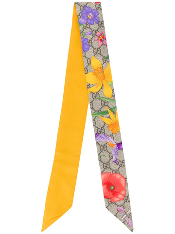 GUCCI Flora print neck bow