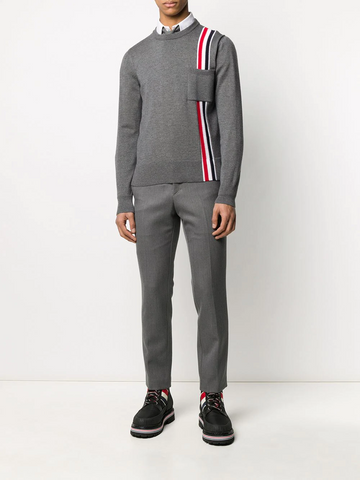 THOM BROWNE intarsia-knit stripe panel jumper