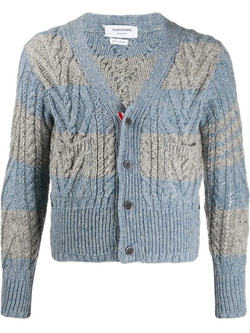 THOM BROWNE Fun Mix Aran Cable V-neck cardigan