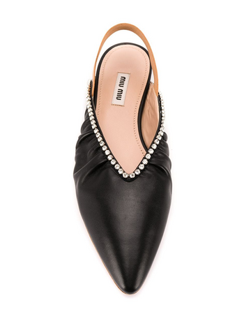 MIU MIU crystal-embellished slingback ballerina shoes