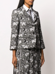 THOM BROWNE narrow shoulder classic sportcoat in fun mix animal icon tapestry jacquard