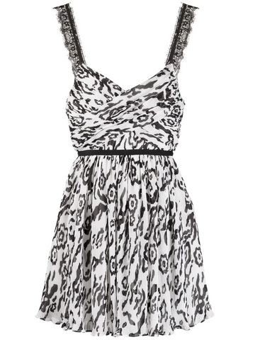 SELF PORTRAIT print pleated mini dress