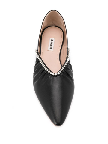 MIU MIU crystal-embellished ballerina shoes