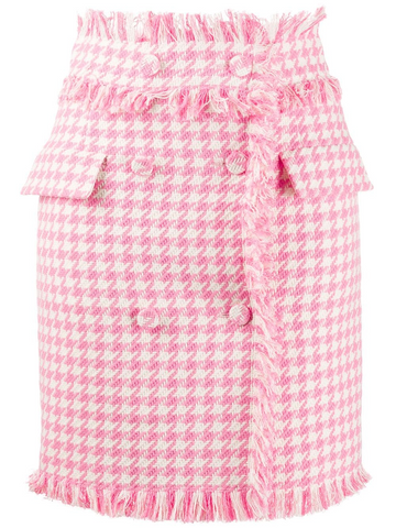MSGM  houndstooth frayed double-fastened skirt