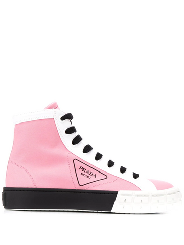 PRADA logo basketball high top sneakers