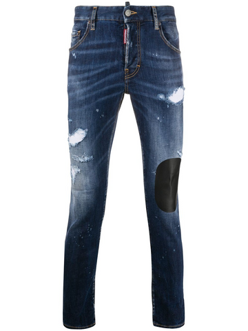 DSQUARED2 distressed patchwork skinny jeans